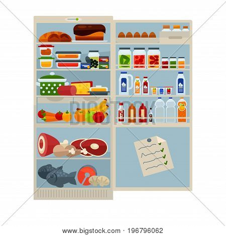 Refrigerator full of food and drinks vector illustration. Fresh bakery products, homemade dishes in plastic containers, organic fruits and vegetables, tasty meat, salty fish and cool beverages.