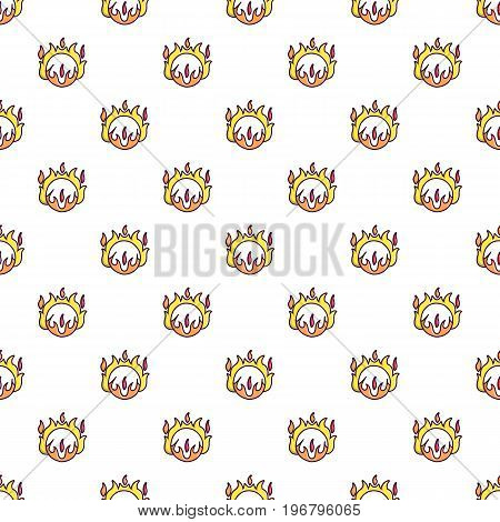 Circus ring of fire pattern seamless repeat in cartoon style vector illustration
