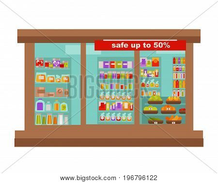 Shop or supermarket grocery food store sale shop-window. Vector flat isolated icon design of shopping trade center or mall with sale offer