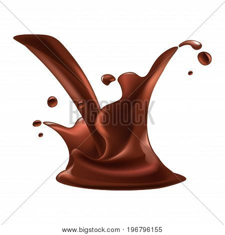 Chocolate splash drops of cacao drink or splashing hot chocolate for product package logo design element. Vector isolated 3d realistic icon on white background