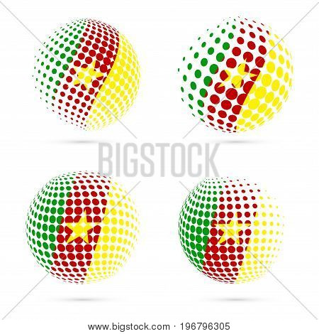 Cameroon Halftone Flag Set Patriotic Vector Design. 3D Halftone Sphere In Cameroon National Flag Col