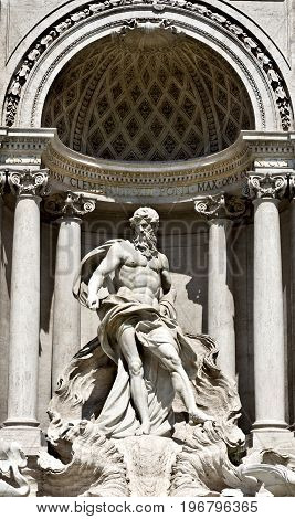 Statue in the Oceanus in the Trevi Fountain of Rome, Italy