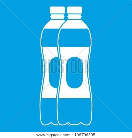Two plastic bottles icon white isolated on blue background vector illustration