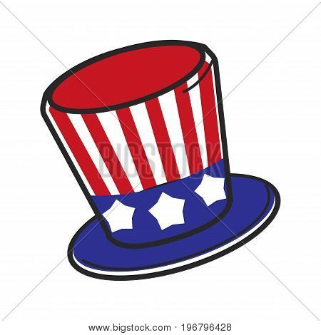 American flag hat cylinder of Uncle Sam America politics symbols. Vector isolated outline icon of USA historic culture and travel tourism icon