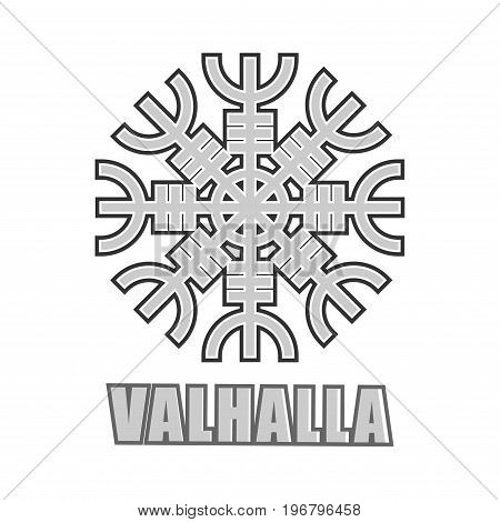 Vikings Valhalla logo template of ancient mystic sign of Scandinavian warriors. Vector symbol of mythology Swedish or Norse Scandinavian epos