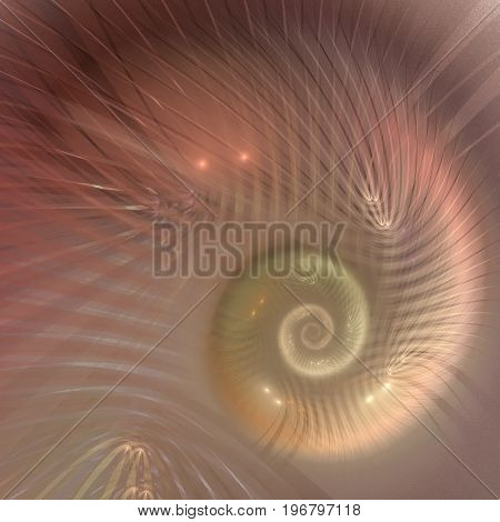 Ammonite shell of natural color and shine - fractal art abstract background.