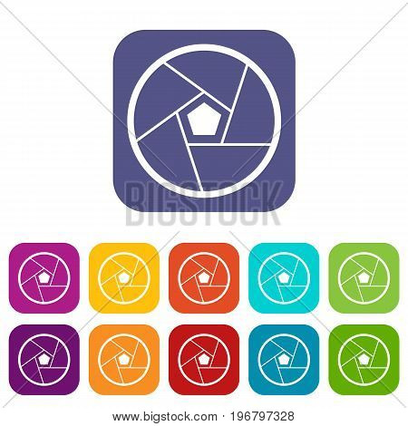 Photographic lens icons set vector illustration in flat style in colors red, blue, green, and other