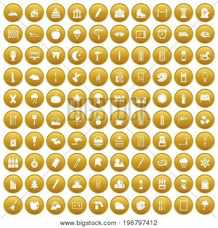 100 drawing icons set in gold circle isolated on white vector illustration
