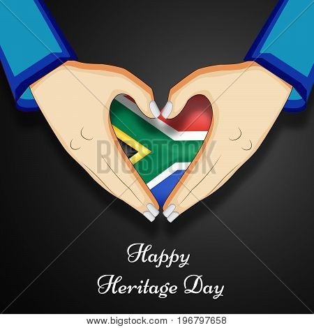 illustration of hands and heart design in south Africa flag background with Happy Heritage Day text on the occasion of Heritage Day