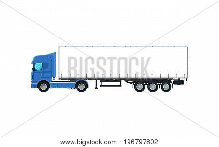 Cargo truck icon. Trucking business object, commercial transport and logistics, side view auto vehicle isolated vector illustration.