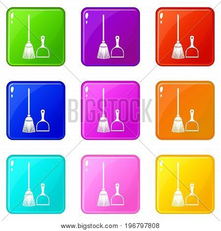 Broom and dustpan icons of 9 color set isolated vector illustration