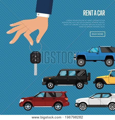 Rent a car poster with city car and hand holding auto key. Transport service, online pre order car vector illustration. Auto business, test drive, automobile selling, leasing or renting car banner