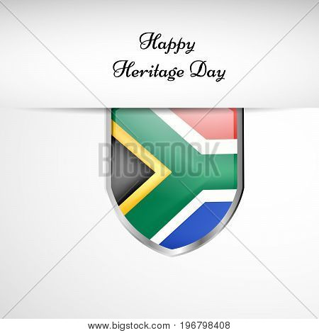 illustration of shield in south Africa flag background with Happy Heritage Day text on the occasion of Heritage Day
