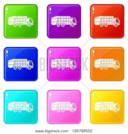 Garbage truck icons of 9 color set isolated vector illustration