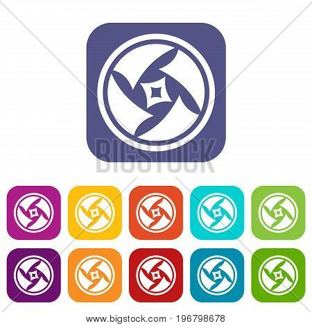 Covered objective icons set vector illustration in flat style in colors red, blue, green, and other