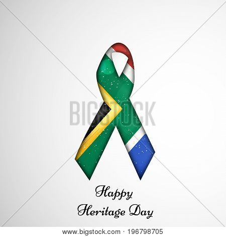 illustration of ribbon in south Africa flag background with Happy Heritage Day text on the occasion of Heritage Day