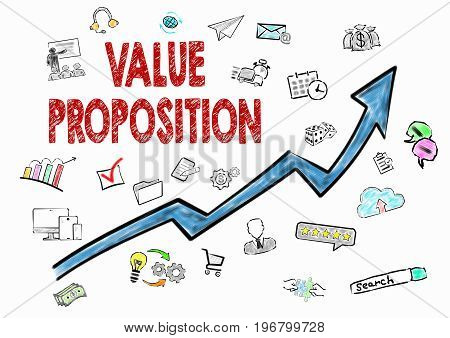 Value Proposition, Business Concept. Icons on white background.