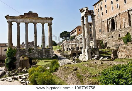 Roman Forum - square in the heart of ancient Rome, along with surrounding buildings.