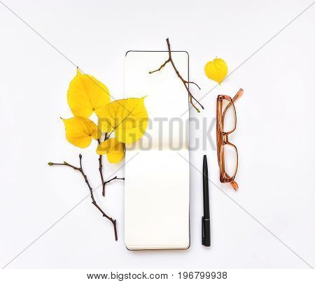 Closeup of open notebook and glasses on white background. Decorated with autumn yellow leaves and branches. Top view flat lay