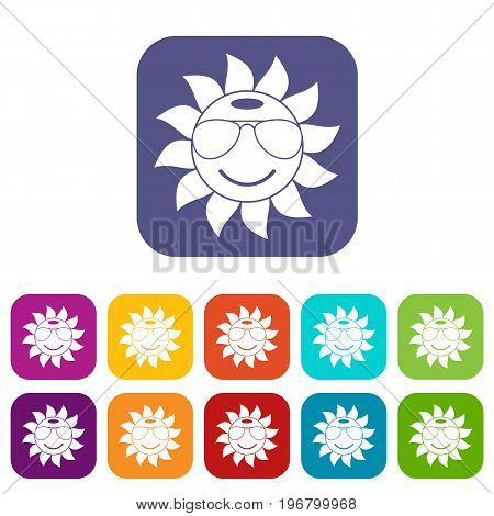 Sun icons set vector illustration in flat style in colors red, blue, green, and other