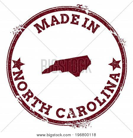 North Carolina Vector Seal. Vintage Usa State Map Stamp. Grunge Rubber Stamp With Made In North Caro