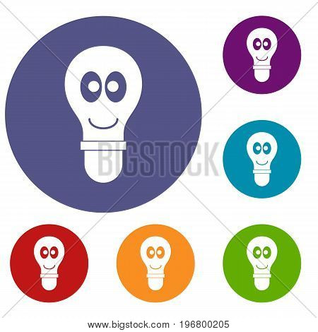 Smiling light bulb with eyes icons set in flat circle red, blue and green color for web