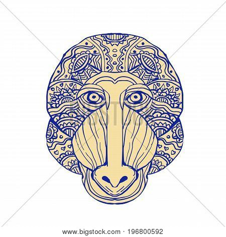 Illustration of a Mandrill Head Front view done in hand sketch drawing Mandala style.