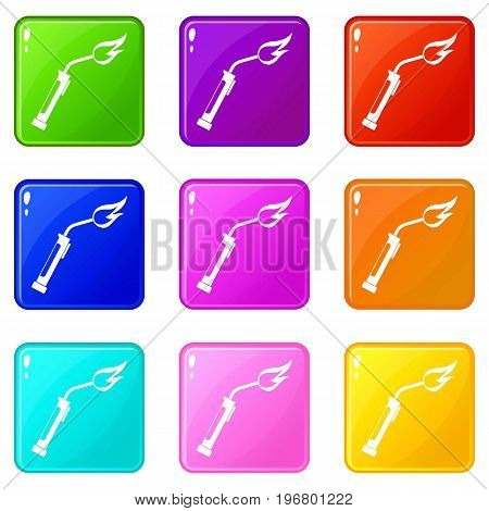 Welding torch icons of 9 color set isolated vector illustration
