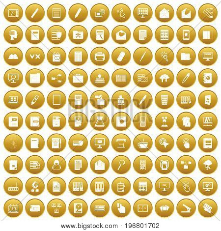 100 folder icons set in gold circle isolated on white vector illustration