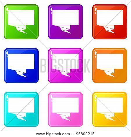 Square banner icons of 9 color set isolated vector illustration