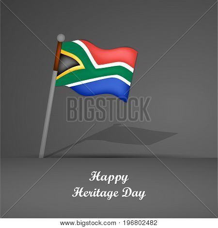illustration of south Africa flag with Happy Heritage Day text on the occasion of Heritage Day