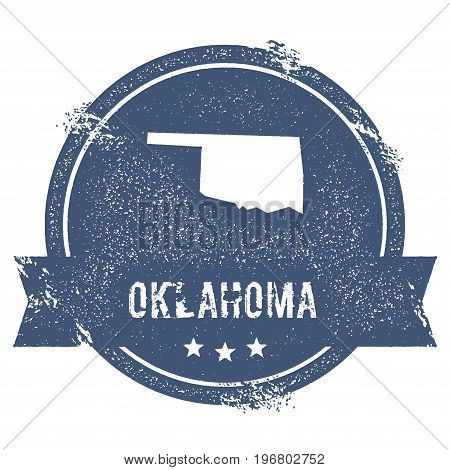 Oklahoma Mark. Travel Rubber Stamp With The Name And Map Of Oklahoma, Vector Illustration. Can Be Us