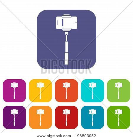 Mobile phone on a selfie stick icons set vector illustration in flat style in colors red, blue, green, and other
