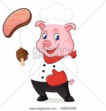 Chef Pig Cartoon Mascot Grilling Pork