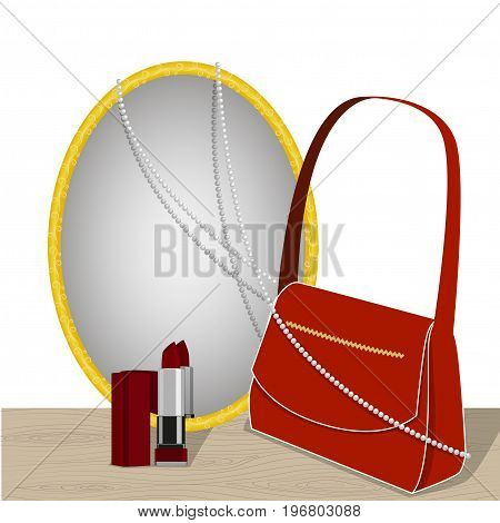 Mirror on the table and accessories, red bag, lipstick and pearl necklace reflected in the mirror, isolated on white background, vector illustration