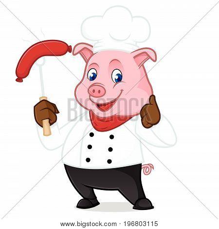 Chef Pig Cartoon Mascot Grilling Sausage