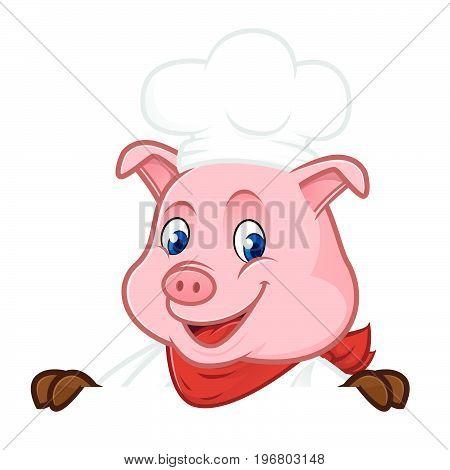 Chef Pig Cartoon Mascot Holding Blank Sign