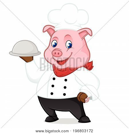 Chef Pig Cartoon Mascot Holding Food Tray