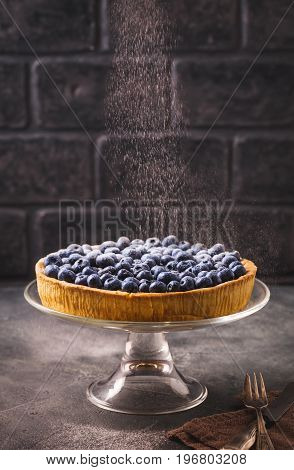 Blueberry tart sprinkling with icing sugar in dark tones