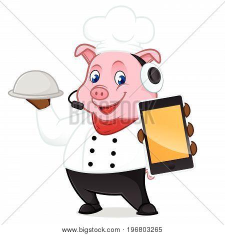 Chef Pig Cartoon Mascot Holding Phone And Food Tray