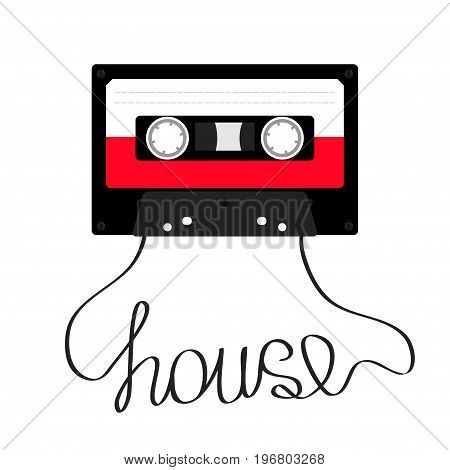 Plastic audio tape cassette with word House music. Retro icon. Recording element. 80s 90s years. Red color template. Flat design. White background. Isolated. Vector illustration
