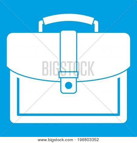 Business briefcase icon white isolated on blue background vector illustration