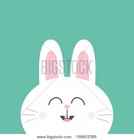 White bunny rabbit with long ears. Cute cartoon smiling character. Baby greeting card. Happy Easter sign symbol. Green background. Flat design. Vector illustration