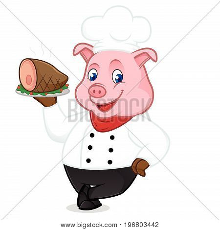 Chef Pig Cartoon Mascot Serving Pork On Tray And Leaning