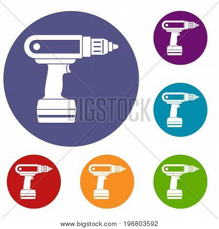 Electric screwdriver drill icons set in flat circle red, blue and green color for web