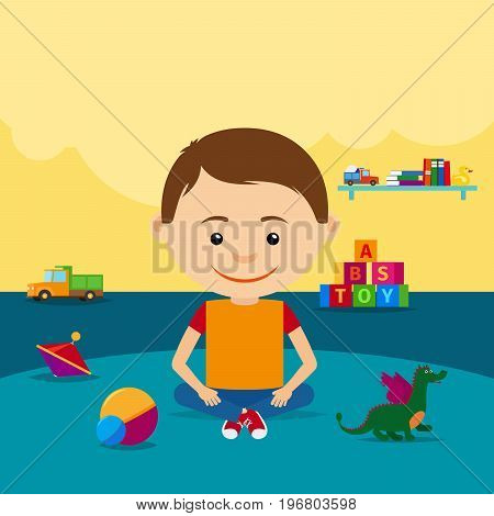 The boy sits on the floor surrounded by toys in a kindergarten. Vector illustration