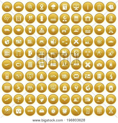 100 globe icons set in gold circle isolated on white vector illustration
