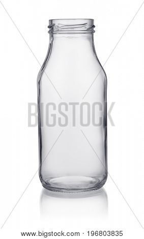 Small empty glass bottle isolated on white