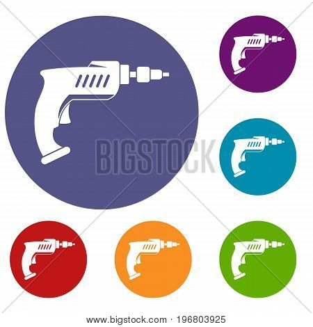 Drill icons set in flat circle red, blue and green color for web