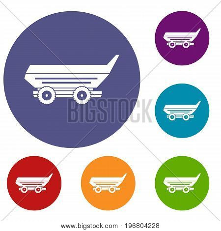 Car trailer icons set in flat circle red, blue and green color for web